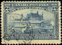 Used Canada 1908 5c F+ Scott #99 Quebec Tercentenary Issue Stamp