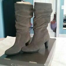 "La Canadienne Suede Black Mid Calf Boot 3"" Heel Slouch Mercedes Size 8 Grey"
