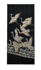 Bamboo Beaded Curtain Hand Painted-Cranes