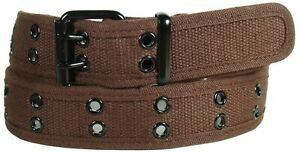 Men's Canvas Belt Double Grommet Studded Hole 100% Cotton Durable and Strong Hem