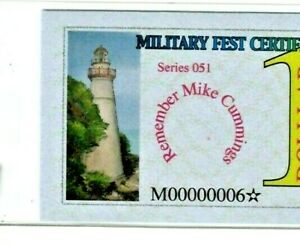 "$1 ""MILITARY FEST CERTIFICATE"" (SERIES 051 STAR) ""MILITARY""  00000006* LOWW STAR"