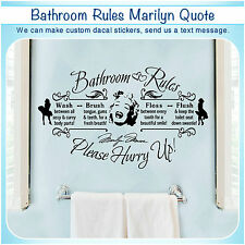 Bathroom Rules Marilyn Monroe Quote Vinyl Wall Home Decor Art Sticker Decal S130