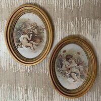 Vintage Gold Oval Framed Cupids Cherubs Angels Children Romantic Art Prints Cute