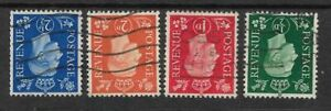 Great Britain 1937 definitives wmk inverted SC 235-6, 238-9 SG 462-3,465-6 used