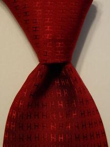 HERMES Heavy Mens 100% Silk XL Necktie FRANCE Luxury FACONNEE H Burgundy Red EUC