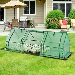 Outsunny Steeple Polytunnel Greenhouse Grow Tent Steel Frame 2.7x0.9x0.9m