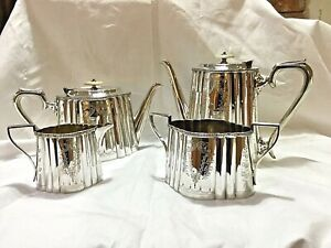 Victorian 4-piece Silver-plated Tea Set by Michael Beal of Sheffield ~ 1867