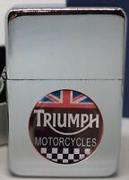 TRIUMPH MOTORCYCLES UNION JACK  FLIP METAL PETROL LIGHTER