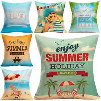 "18"" Summer Beach Pattern Cotton Linen Pillow Case Cushion Cover Home Decor"