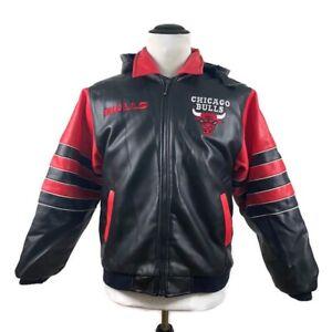 🔴 Vintage Chicago Bulls Jacket Mighty Mac Vinyl Red Black Youth XL Men's Small