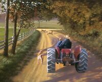 "Memory Lane Tractor Dog Child Cotton Fabric Panel Digitally Printed 35"" x 44"""