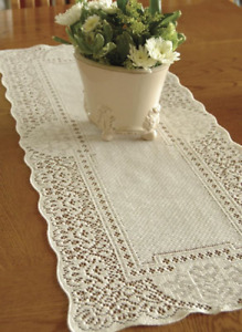 """Heritage Lace ECRU CANTERBURY CLASSIC Table Runner 14""""x36"""" - Made in USA!"""