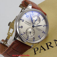 43mm PARNIS silver dial power reserve indicator ST2542 automatic mens gift watch