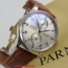 43mm parnis silver dial power reserve indicator Seagull 2542 automatic men watch