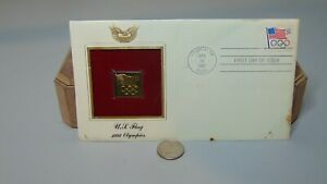 APR 21 1991 FIRST DAY ISSUE US FLAG 1992 OLYMPIS 22K GOLD PLATED REPLICA STAMP