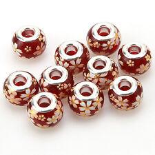 10pcs Flower Print Red Base Lampwork Glass European Beads Fit Jewelry Bracelet D