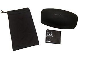New SALVATORE FERRAGAMO Black Eyeglass Sunglass Case, Pouch & Cleaning Cloth