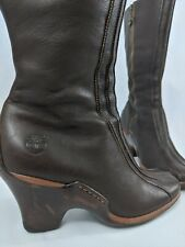 Timberland brown Leather tall women's Boots 9.5 Zippers Heels Rubber Soles 98366