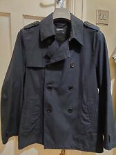 Mens Primark Cedarwood State Cropped Double Breasted Black Trench Coat Medium