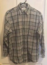 GEOFFREY BEENE Small S Long Sleeve Button Down Black White Plaid Cotton Shirt