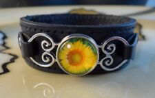 SUNFLOWER SNAP BUTTON on genuine black leather bracelet Gifts for women