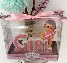 12-Baby Shower Favors Girl Pink Figurines Party Decorations Cake Recuerdos Niña