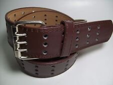 "Men Leather Belt Three Hole Dark Brown with Silver Buckle M 34 - 36"" #9042B"