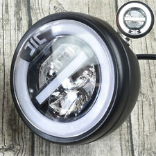 "6.8"" 12V Motorcycle Bike LED Headlight Fog DRL Light White Halo Ring w/ Bracket"