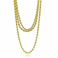 "Mens Refurbished 16K Gold Plated 4mm Rope Chain Bundle Set (2x24"" & 1x30"")"