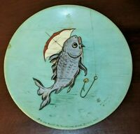 """Antique French Platter Plate Charger Koi Carp Fish Signed Painted Aqua 9 1/2"""""""