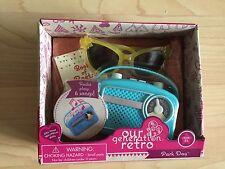 "NIB Our Generation Retro Park Day 18"" dolls radio sunglasses picnic blanket book"
