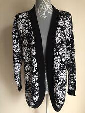 Amari Women Open Front Cardigan Size 10-12 Black White Floral Vintage Acrylic