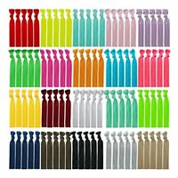 100 Assorted Solid Color No Crease Hair ties for Women Girls Ponytail Holder