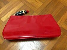 LULU GUINNESS Lipstick Red Zip Pouch Clutch Handbag Cosmetic Purse