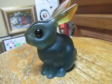 Daum France Signed Rabbit in Colors Teal Amber w/ Black Eyes