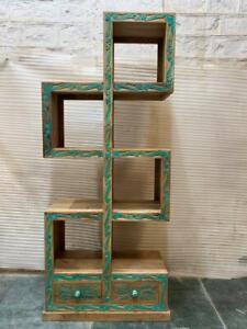 MADE TO ORDER Solid Wood Indian Hand Carved ZigZag Bookshelf Natural Turqouise