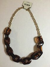 NWT Nordstroms 14th & Union gold And Brown Turtle Print Necklace 28""