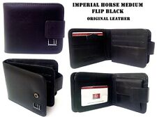 MEN'S IMPERIAL HORSE BIFOLD WALLET COWHIDE LEATHER PRESS STUD  BLACK IN BOX