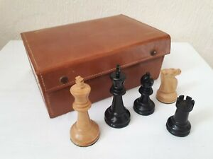 """Jaques London Staunton Ebony Boxwood Chess Pieces 3.8"""" weighted, Hand crafted"""