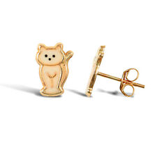 9CT YELLOW GOLD CHILDRENS CAT ENAMELLED STUD EARRINGS Erin Rose Jewellery Co