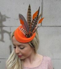 Orange Brown Pheasant Feather Pillbox Hat Fascinator Races Hair Clip Ascot 5478