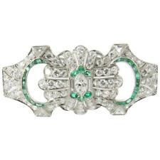 Vintage Platinum Diamond and Emerald Brooch Pendant 4 carats #1785