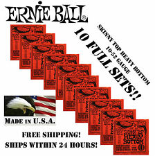 *10 PACK ERNIE BALL SKINNY TOP HEAVY BOTTOM ELECTRIC GUITAR STRINGS 2215(10-52)*