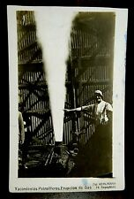 OILFIELD GAS ERUPTION & SMILING MAN ARGENTINA KOHLMANN Photo Postcard 1930s