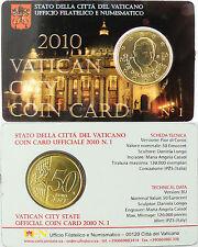 VATICAN  50  CENT  EURO  2010  ,  COIN  CARD  ,  ETAT  NEUF