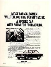 1971 FIAT 124 SPORT COUPE  ~  NICE ORIGINAL PRINT AD