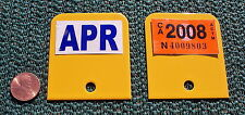 STICKER WELLS, PAIR in YELLOW, Display Year & Month Tags on YOM License Plates