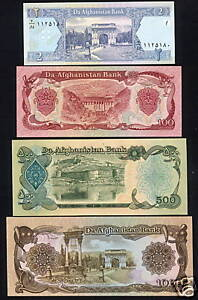 Afghanistan Bank Notes  Perfectly fresh Uncirculated 2,100,500 & 1000 Afghanis