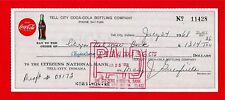 1968 Coca Cola Tell City Ind Old Bottling Check #11428