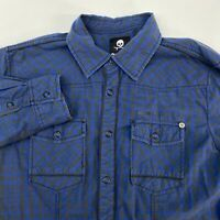 Decoded Snap Button Shirt Men's Medium Long Sleeve Blue Gray Casual 100% Cotton